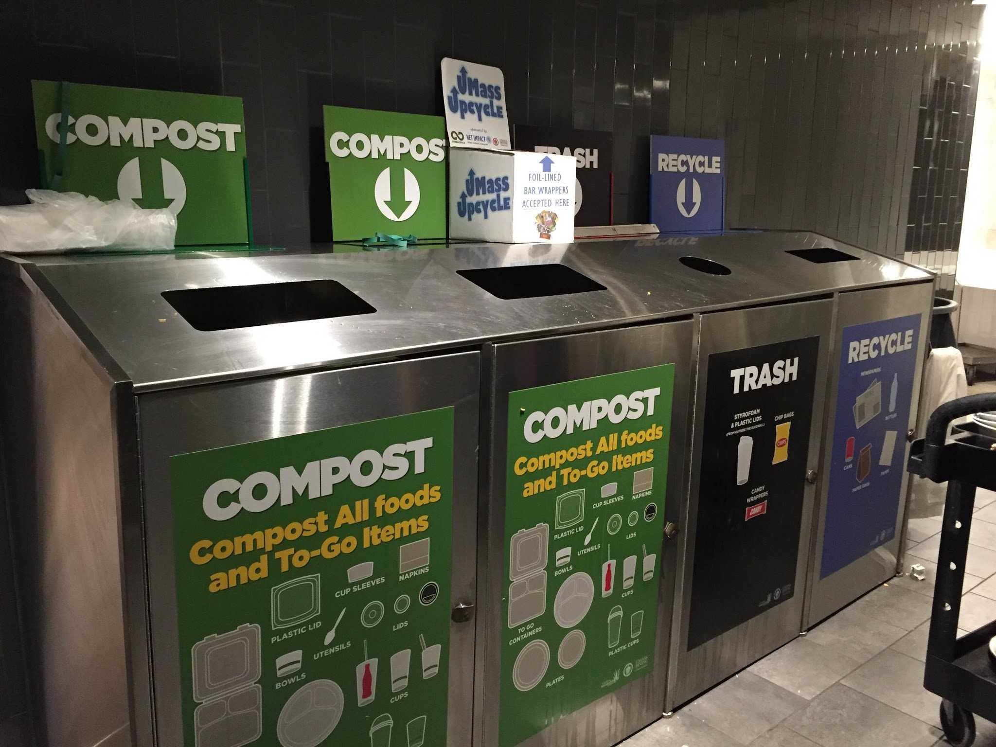 Single-stream recycling bins in Blue Wall.