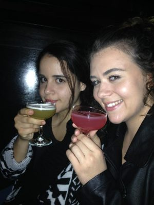 My sister Nicki and I drinking two different types of cocktails at The Lab in Montreal.
