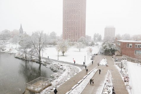 A blanket of snow covers the UMass campus during the first snowfall of the year.