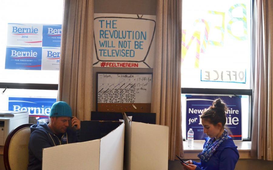 Volunteers work the phones at the Bernie Sanders field office in Keene, NH.