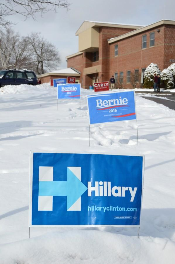 Signs outside the Parks and Recreation Department in Keene, NH, one of the city's five voting precincts.