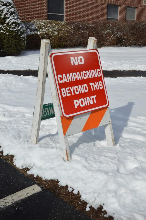A sign outside a polling place in Keene, NH.