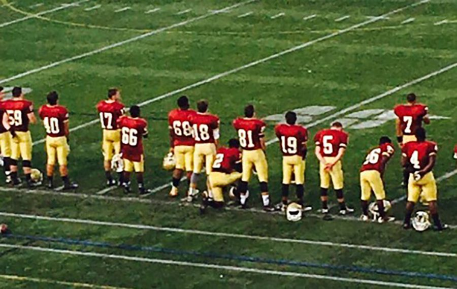 High school football player kneels during anthem, joins national conversation