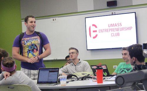 Jake Bernstein speaks at a UMass Entrepreneurship Club meeting.