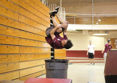 Danny Maryanski practices his parkour moves.