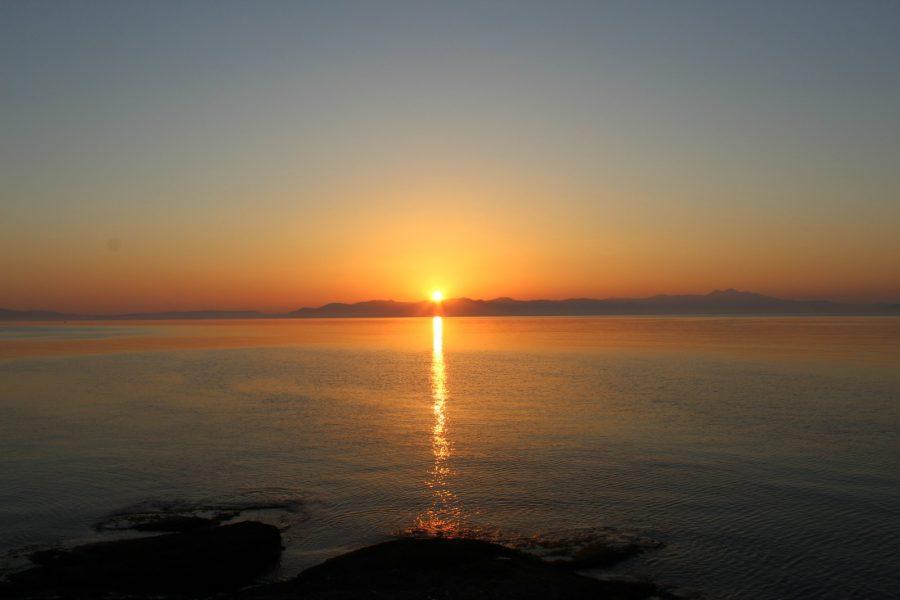 The sunset in Rafina, Greece.