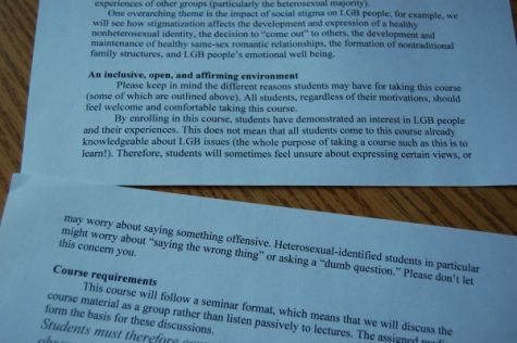 A syllabus from Dr. John Bickford's Psychology of the Lesbian, Gay, and Bisexual Experience. The document says that class is a a place where students shouldn't be worried about saying the wrong thing or asking a dumb question.