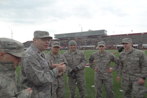 Major Bradley Podiliska speaks to the UMass Air Force ROTC at the game. (Jon Decker/Amherst Wire)