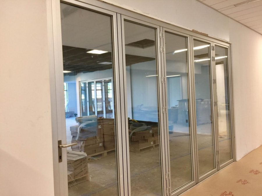 The Nana Walls enclosing a large flex classroom in South College.