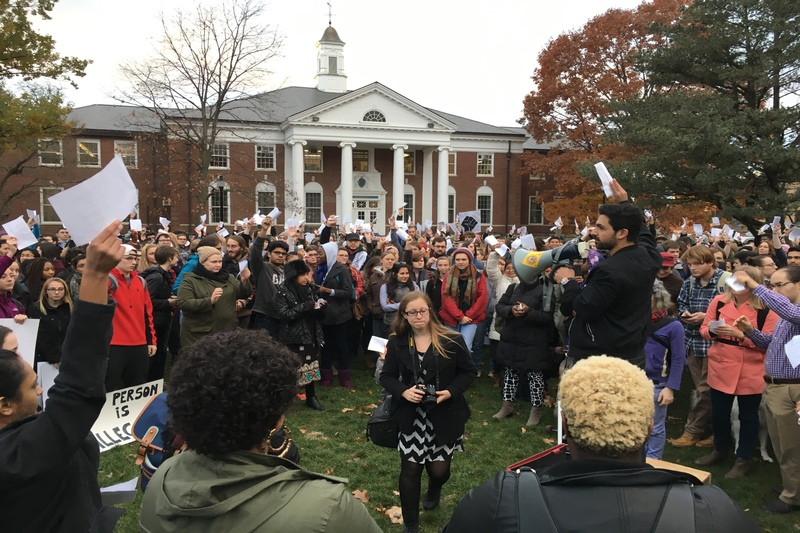 Protesters+gather+at+the+Goodell+Lawn+on+Wednesday%2C+Nov.+16%2C+2016+during+a+walkout+to+turn+UMass+into+a+%22sanctuary+campus.%22+%28Joshua+Murray%2FAmherst+Wire%29