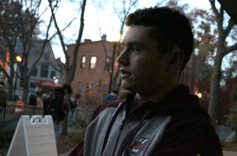 UMass student Nolan Kessinger at the precinct.