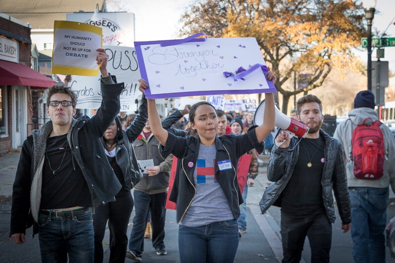 Students marched from the UMass Goodell Lawn to downtown Amherst in an anti-Trump protest Friday afternoon. (Joshua Murray/Amherst Wire)