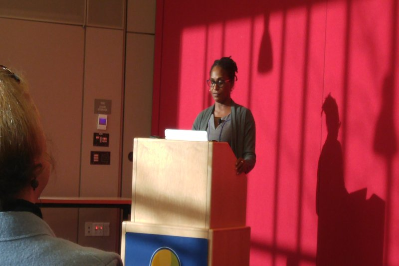 Lisa Bowleg of George Washington University addressed a casual crowd of 50 University of Massachusetts Amherst students and faculty on Thursday, Nov. 3, 2016. (Allyson Morin/Amherst Wire)