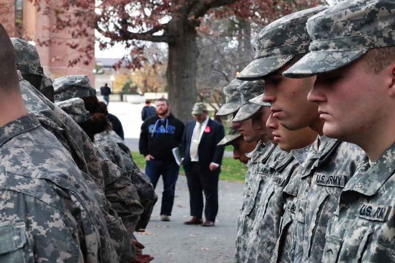 UMass ROTC Cadets stand in silence at the Veteran's Day Ceremony on Friday, Nov. 11, 2016. (Jon Decker/Amherst Wire)