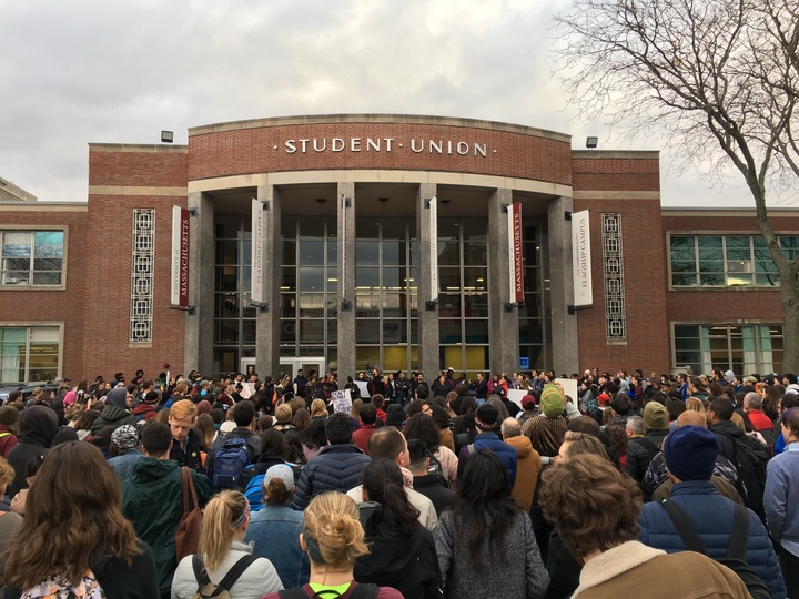The Sanctuary Campus march, organized by Santiago Vidales, began outside the UMass Student Union on Nov. 16, 2016. (Joshua Murray/Amherst Wire)