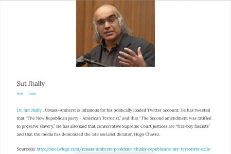 A screen grab of communication professor Sut Jhally's entry to a list of professors pushing a 'radical' agenda in class. Jhally is the only current UMass Amherst professor to be named to professorwatchlist.org.