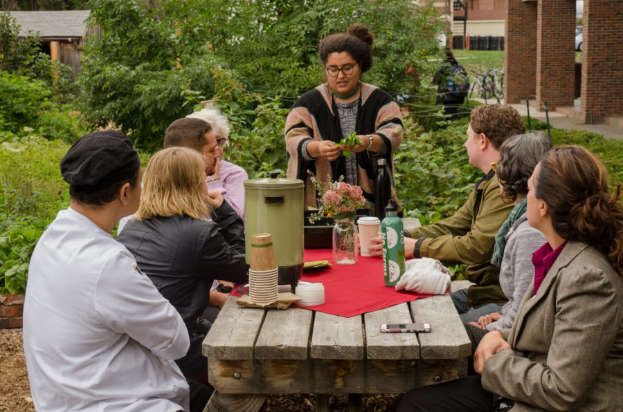 Xochiquetzal Salazar speaks with UMass Dining's chefs during their visit to Franklin's permaculture garden this fall. (Keith Toffling/UMass Dining Flickr)