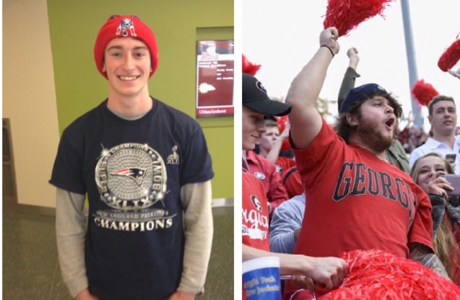 Left, Eric Demmer. (Mike Knittle/Amherst Wire) Right, Georgia fan. (David A. Barns/the Red and Black)