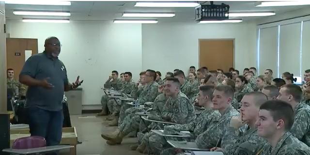 Andrew Golden speaks to the UMass ROTC in February 2017. Screen shot from Jon Decker's video.