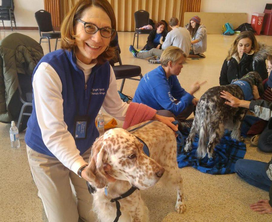 Bright Spot founder Cynthia Hinckley at UMass for the Paws Program