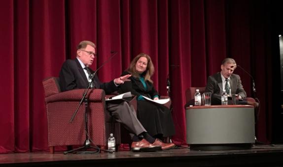 David Murray, left, moderator Katherine Newman and Jeffery Miron. (Bryan Bowman/Amherst Wire)