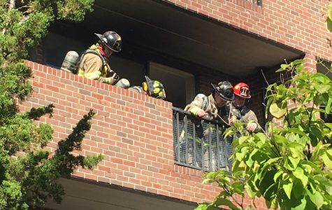 Firefighters responded to a fire at the Ann Whalen Apartments on Friday afternoon. (Chris Ingerson/Amherst Wire)