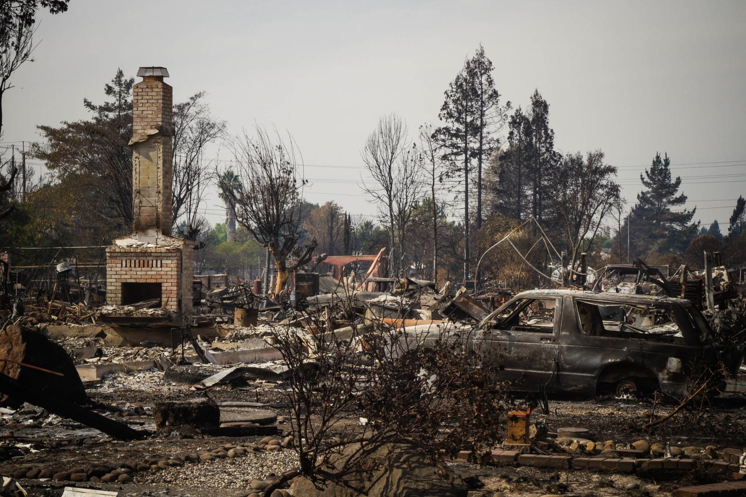 Remnants of a neighborhood in Santa Rosa, Calif., where wildfires ravaged through the town. (Sgt. 1st Class Benjamin Cosse, California National Guard/Creative Commons)