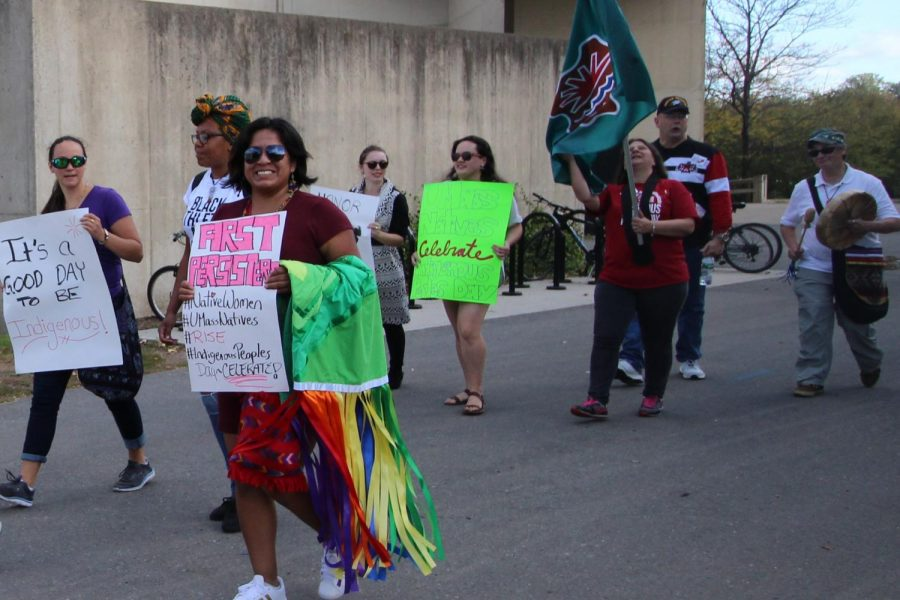 Indigenous People's Day marchers. (Laurie Sexton/Amherst Wire)