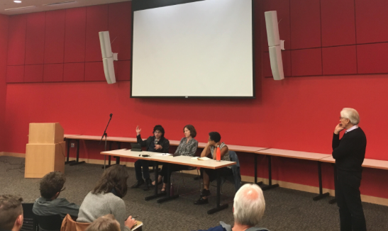 A panel gathers in the Commonwealth Honors College to discuss UBI.