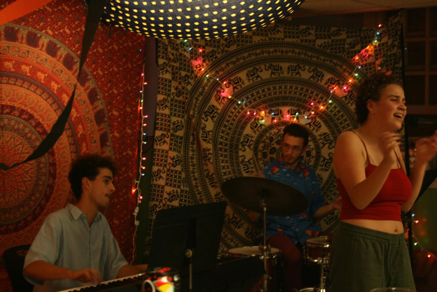 "Student musicians provided musical entertainment as patrons of Green Sub Shop celebrated day two of ""Spooktacular."" (Brian Choquet/Amherst Wire)"