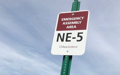 An emergency assembly area outside of Dwight Hall in Northeast Residential Area. (Morgan Hughes/Amherst Wire)