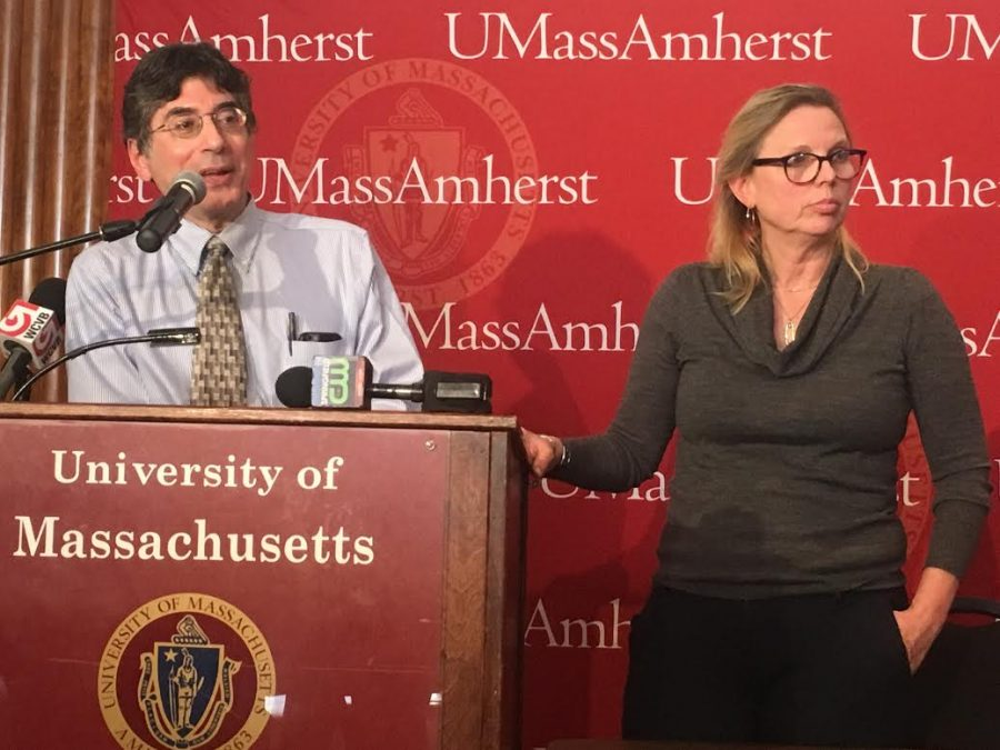 UMass+Health+Services+Director+Dr.+George+Corey+%28left%29+and+Public+Health+Nurse+Ann+Becker+%28right%29.+%28Cameron+Merritt%2FAmherst+Wire%29.