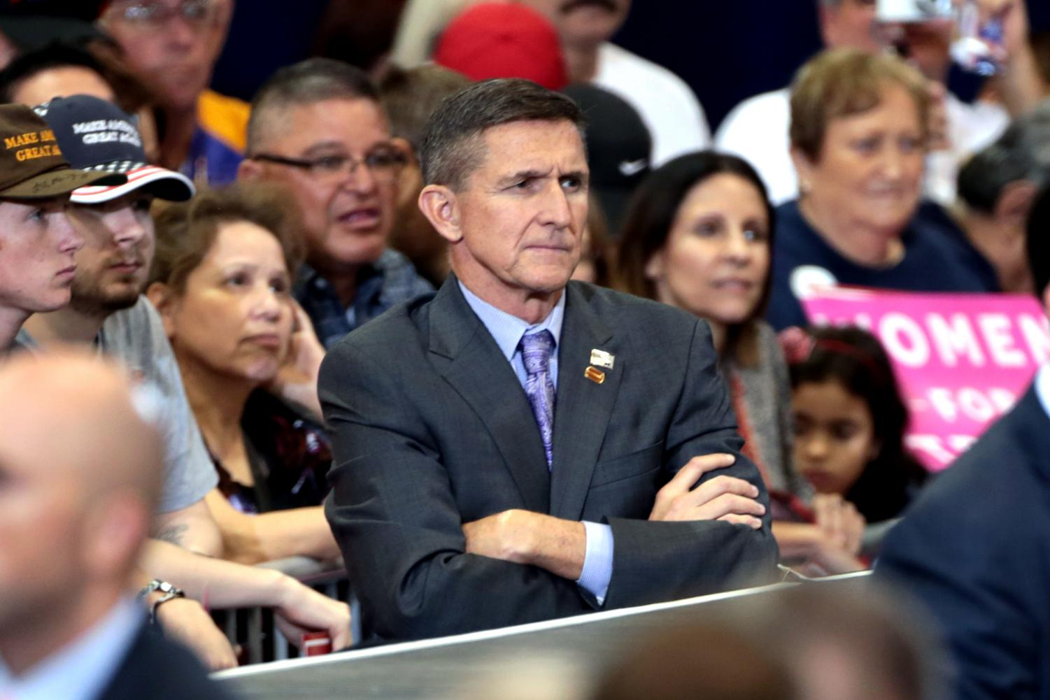 Former General and National Security Advisor Michael Flynn looks on at a Donald Trump campaign rally. (Gage Skidmore/ Flickr)