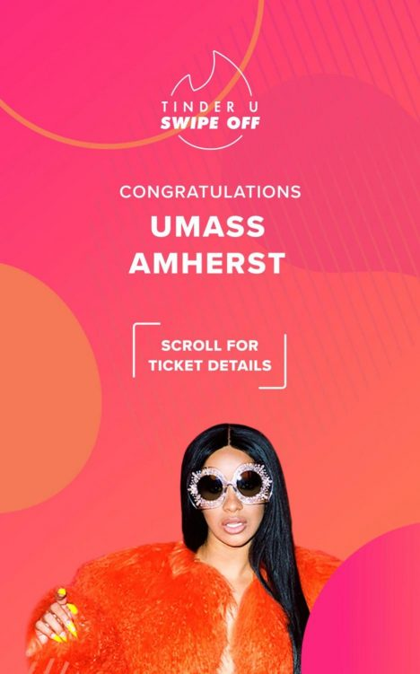 The official Cardi B concert announcement from Tinder. (Photo/Tinder)