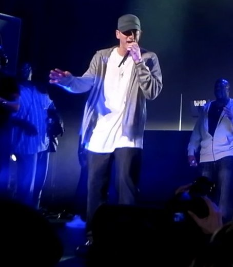 Eminem performing at a DJ Hero party (Glenjamn/Wiki Commons)