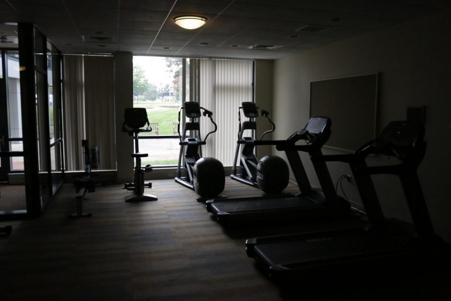 A temporary gym has been put in the basement of New Hall for students to exercise at the UMass Mount Ida campus. (Justin Risley/ Amherst Wire)