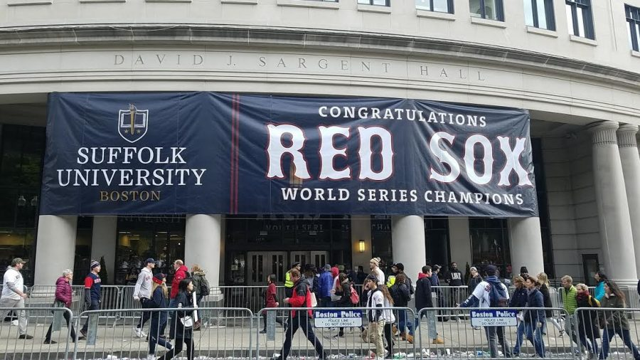 A sign at the Red Sox World Series parade in Boston.