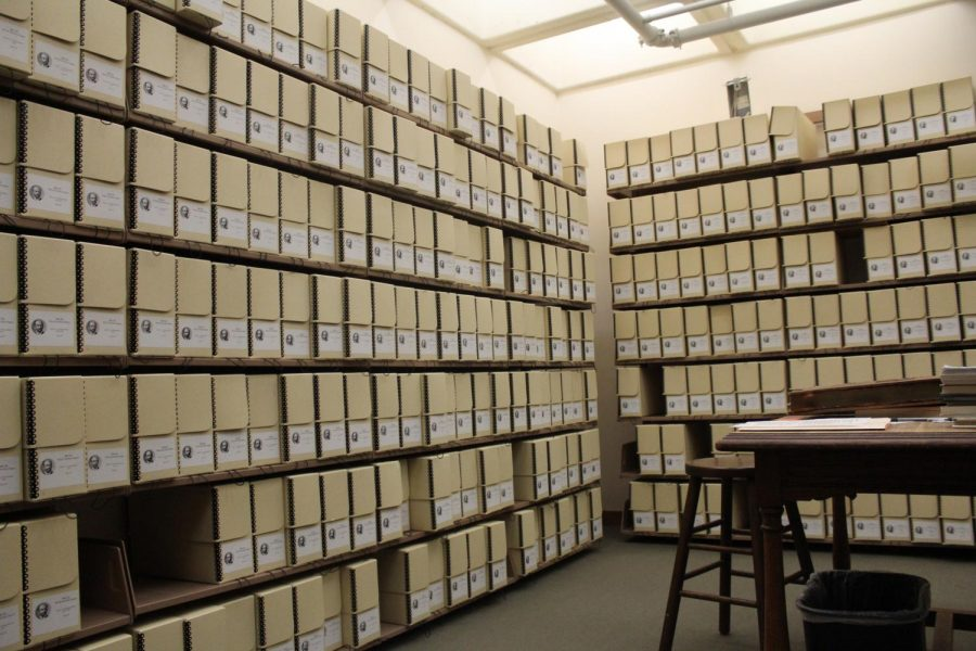 The special collections room holds 291 boxes of W. E. B. Du Boiss writings.