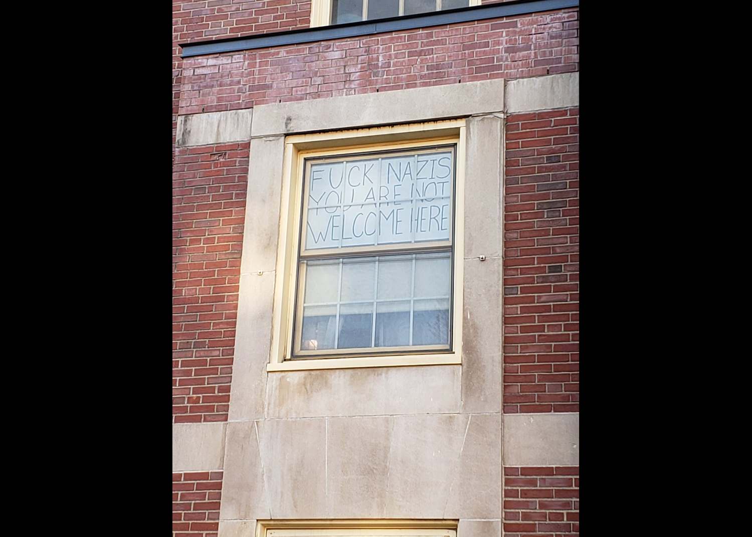 The sign that hung from junior Nicole Parsons' window in Baker Hall. (Photo courtesy of Nicole Parsons)