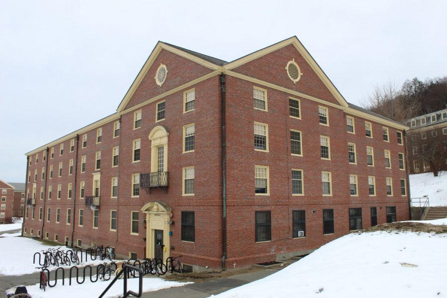 Front and side angles of the entire dorm are shown.
