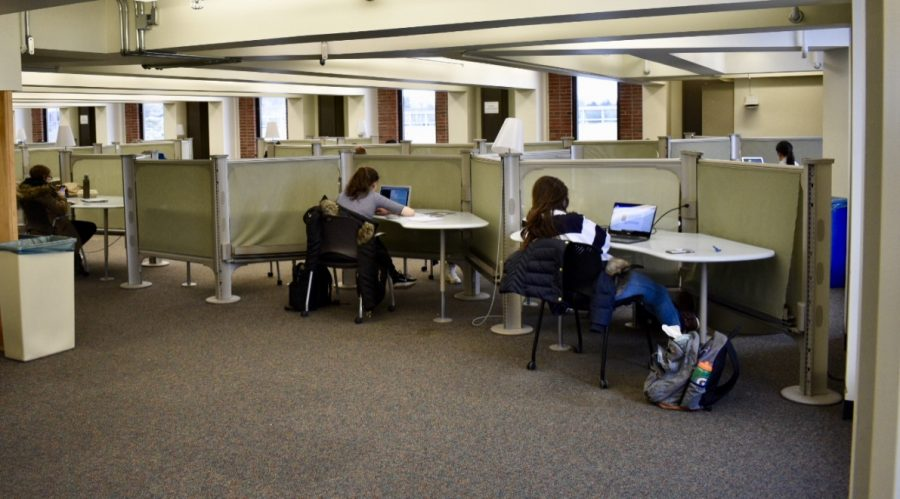 Quiet study floor in the W.E.B. DuBois Library