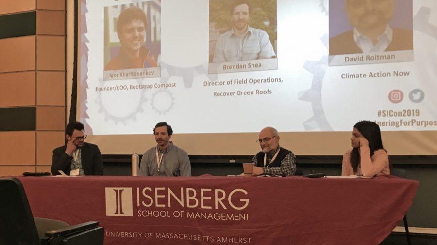Igor Kharitonenkov, Brendan Shea and David Roitman answer questions fielded from UMass alumni Priya Putta (left to right) (John Buday/Amherst Wire)