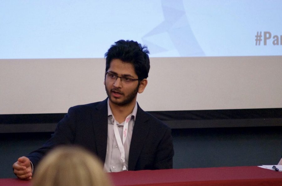 Aashish Kumar speaks at a panel at the Social Innovation Conference on March 30. (Joey Lorant/Amherst Wire)