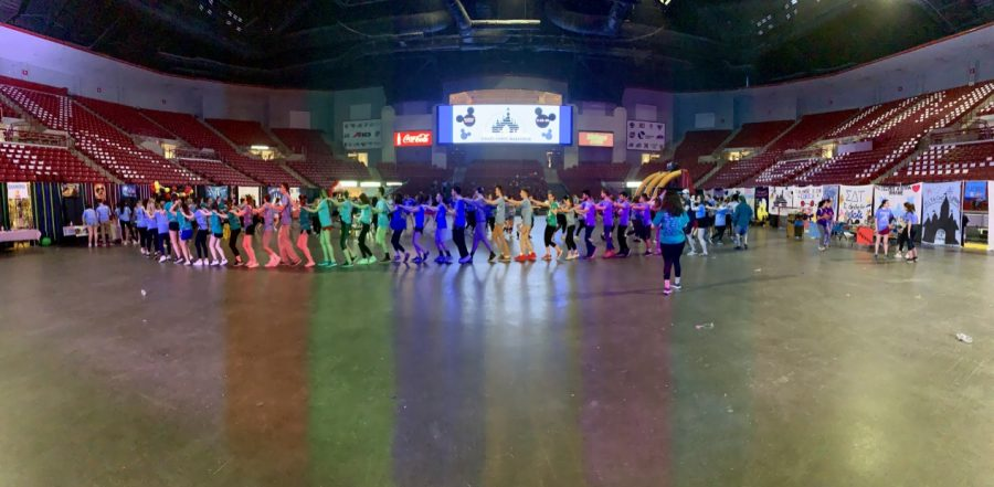 A conga line broke out during the dance marathon (Patrick Kline/Amherst Wire)