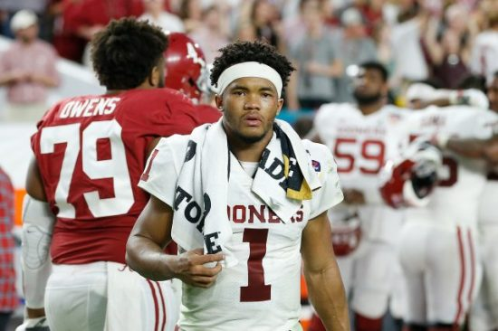 Kyler Murray #1 of the Oklahoma Sooners reacts after losing to the Alabama Crimson Tide in the College Football Playoff Semifinal at the Capital One Orange Bowl at Hard Rock Stadium on December 29, 2018 in Miami, Florida. (Photo by Michael Reaves/Getty Images)