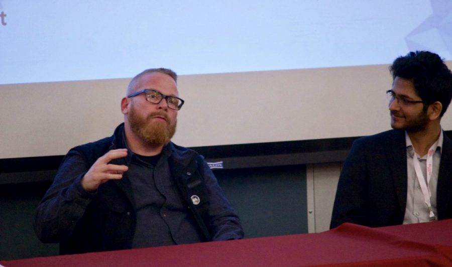 Wade Sulzman and Aashish Kumar take part in a panel at the Social Innovation Conference on March 30. (Joey Lorant/Amherst Wire)