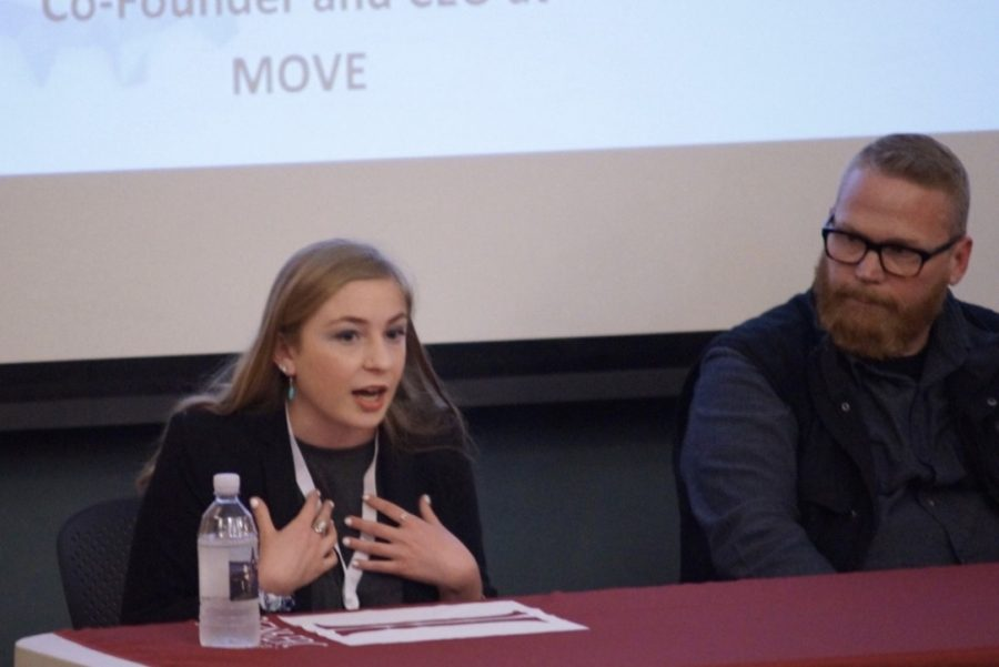 Ashley Olafsen and Wade Sulzman take part in a panel at the Social Innovation Conference on March 30. (Joey Lorant/Amherst Wire)