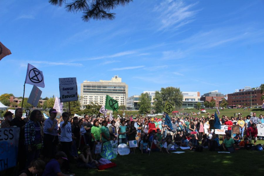 Students+and+community+members+gather+on+the+East+Campus+Lawn+for+the+Campus+Climate+Walk-Out+held+Friday%2C+Sept.20.