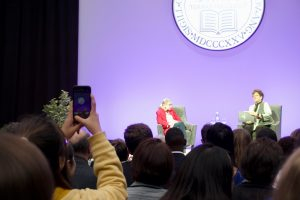 "U.S. Supreme Court Justice Ruth Bader Ginsburg sits on stage with Amherst College President Carolyn ""Biddy"" Martin on Oct. 3, 2019."