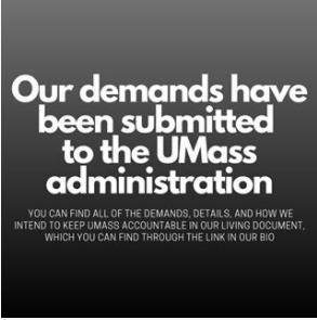 UMass RJC announces their demand submission via Instagram/ @umassrjc